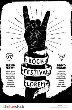 Rock festival poster. Rock and Roll hand sign