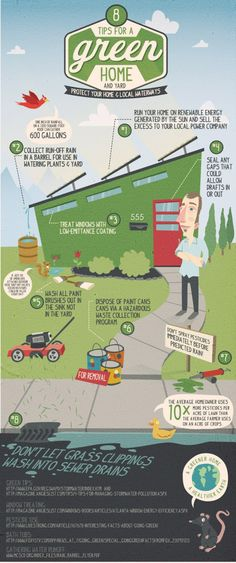 Great infographic: Protect the Earth - 8 Tips for a Green Home and Yard #infographic #environment_friendly #ecofriendly_home