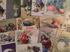LOT of 25 BEAUTIFUL Antique~ POSTCARDS all with EASTER EGGS~Flowers-b-4 #Easter