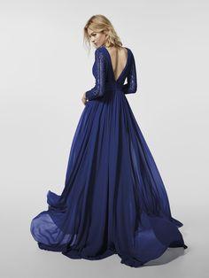 e831acecad3d Blue cocktail dress - Long dress GRANEA - long sleeves