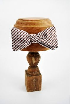 brown gingham bow tie