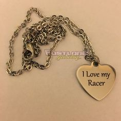 I Love My Racer Heart Charm Necklace by Fastlane Jewelry