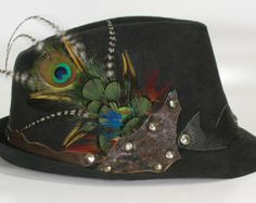 psy wear, goa trance: fedora hat with feathers for festival, cosplay, burning man, rave, party