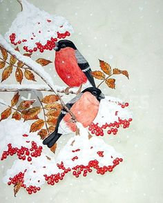 """""""Dompfaff im Winter"""" Painting art prints and posters by Maria Inhoven - ARTFLAKES.COM"""