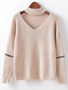 SHARE & Get it FREE   Zippered Sleeve Choker JumperFor Fashion Lovers only:80,000+ Items • New Arrivals Daily Join Zaful: Get YOUR $50 NOW!