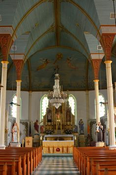 Sanctuary of St Mary's Catholic Church at Praha, Texas -- a Historic Painted Church of Fayette County