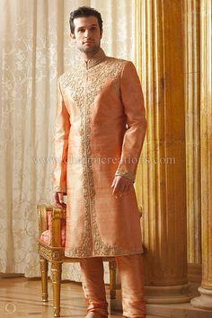 Sherwani for Men - Peach raw silk traditional Indian sherwani with diamante and jardosi embroidery with churidaar