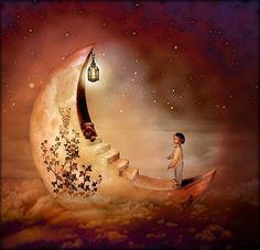 Illustration Moon Esther Margraff - For the little Carolin . Sun Moon Stars, Sun And Stars, Paul Verlaine, Luna Moon, Moon Illustration, Moon Pictures, Moon Pics, Paper Moon, Good Night Moon