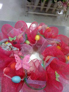 Easter Spring wreath. Deco Mesh
