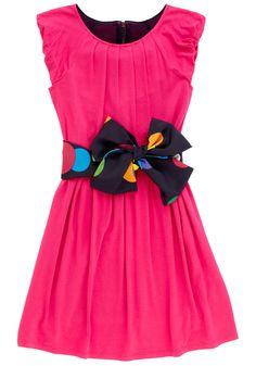 Pink Knit Navy Dot Sash Dress