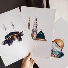 Ensemble de 3 impressions islamiques (La Sainte Kabah - Masjid an Nabawiy - The Dome of The Rock) disponibles avec des cadres! Islamic Art Pattern, Pattern Art, Graffiti Alphabet, Dome Of The Rock, Islamic Posters, Islamic Quotes, Islamic Paintings, Arabic Calligraphy Art, Islamic Wall Art