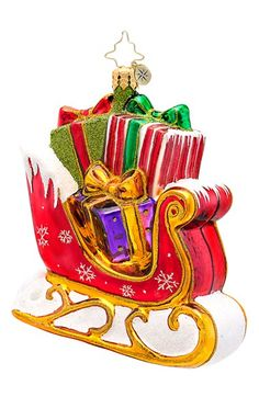 Christopher Radko 'Gift Glider' Handcrafted Glass Sleigh Ornament available at #Nordstrom