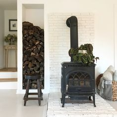 53 Old Farmhouse Converted Into A Warm Industrial Farmhouse – Farmhouse Room Wood Stove Surround, Wood Stove Hearth, Wood Burner, Farmhouse Fireplace, Stove Fireplace, Wood Fireplace, Cottage Fireplace, Fireplaces, Wood Stove Decor