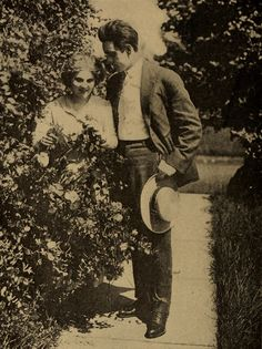 """theshadowstage: """" """"""""Dearest dear,"""" he murmured """" Florence Lawrence and Arthur V. Johnson in Always a Way. The Motion Picture Story Magazine, August 1911. Internet Archive. """""""
