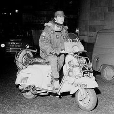 Pete Quaife of The Kinks on his Vespa SS180 scooter
