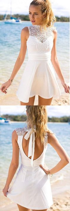 Chic A-Line High Neck Open Back Short White Homecoming Party Dress with Lace,cute homecoming dress, casual party dress,short white dress, fashion dress,graduation dress