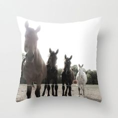 Decorative Photo Throw Pillow Cover Brown Rustic Horses Farm Home Decor 18x18 Gift For Him Gift