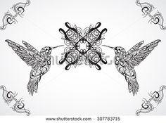 Hummingbird. Tattoo art. Retro banner, invitation,card, scrap booking. t-shirt, bag, postcard, poster.Highly detailed vintage style hand drawn vector illustration