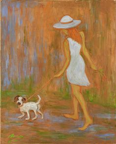 'Indian Summer on the Path' ©Xueling Zou;  gift, greeting cards, posters, prints, fine art, original art, corporate art, home decor, wall image, wallpaper, $6.00, for sale, figurative, puppy, dogs, degas, indian, autumn, fall, animals, outdoors, girl, women, walk, impressionist, impressionism, oil, painting