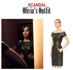 "On the Blog: Olivia Pope's (Kerry Washington) black off shoulder leather dress | Scandal (Ep. 416) - ""It's Good to be Kink"" #tvstyle #tvfashion #outfits #TGIT #gladiators #fashion #fierce"