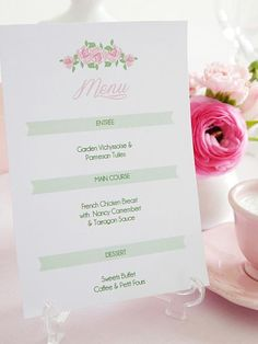 Fuss-free and fresh-looking, these printable menu cards are delightful when displayed atop each table. Download the template, then add your own text using word processing software.