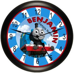 Thomas The Tank / Train And Friends Kid's Personalized Wall Decor Art Wall Clock Decor Gift Idea. Available In 3 Clock Styles. Exclusively Made By Simply Southern Gift.