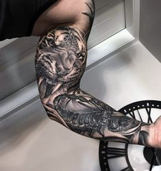 Big Tattoos For Men - Giant Ink Design Ideas - Roaring Tiger Sweet Mens Big Tattoo Ideas Big Tattoos For Men - Giant Ink Design Ideas - Roaring Tiger Sweet Mens Big Tattoo Ideas - Tatuagem criada pelo tatuador edsonmultarts. Artes criadas no estil. Tiger Tattoo Sleeve, Lion Tattoo Sleeves, Arm Sleeve Tattoos, Tattoo Sleeve Designs, Tattoo Designs Men, Mens Full Sleeve Tattoo, Mens Tiger Tattoo, Realistic Tattoo Sleeve, Full Arm Tattoos