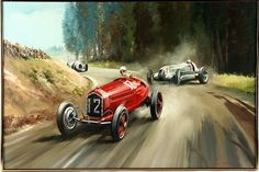 Dion Pears Vintage Sports Cars, Vintage Race Car, Alfa Romeo, Classic Race Cars, Speed Art, Car Posters, Motorcycle Art, Car Drawings, Automotive Art