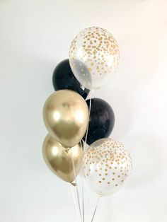 Chrome Gold, Black and Gold Confetti Look Balloon Bouquet