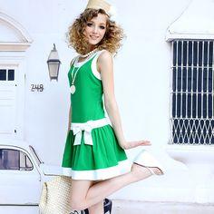 粉红小布娃娃 2014夏 新绿白镶拼蝴蝶结宽松圆领连衣裙新品少女装