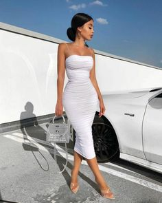 Layers White Summer Dress Women Spaghetti Straps Elegant Ruched Maxi D – Miss. Classy Outfits, Sexy Outfits, Chic Outfits, Fashion Outfits, Sexy Summer Dresses, White Dress Summer, White Midi Dress, Bodycon Dress Parties, Sexy Party Dress