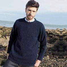 75f966612e3638 Aran Crafts Mens Donegal Collection Crew Neck Sweater