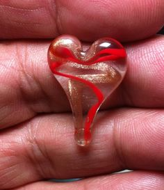 #HeartOfTheDay My #DailyHeart #Day6 - #Lampwork #Glass #Gold & #Red #Ribbon #Swirl W/ #Clear Please #Share (-;