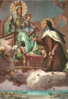 LA SANTÍSIMA VIRGEN, EL NIÑO JESUS Y TERESITA