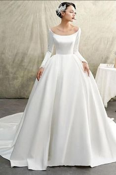 A Line Wedding Dress With Sleeves, Long Wedding Dresses, Bridal Dresses, Dresses With Sleeves, Full Sleeves, Dress Sleeves, Prom Dresses, Gown Wedding, Bridal Style