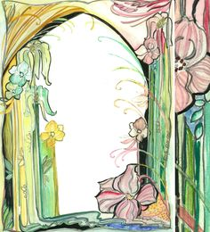 Art Nouveau inspired watercolor for Wedluxe Magazine