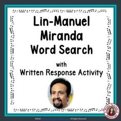 This resource fromMusic Teacher Resources is not your average word search! SUITABLE for Middle School music students. It has a research/written activity based on the words hidden the word search. Your students are not merely finding words in the word search - they are also learning about Lin-Manuel Miranda by researching what these words had to do with his music and life. No prep, just print and go! ♫ ♫ #musiceducation #mtr