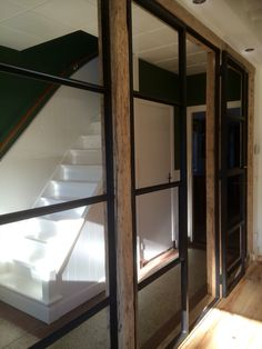 Steel window, oak bars