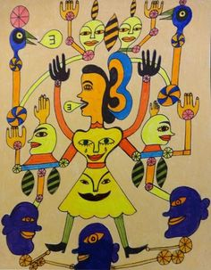 A drawing by US artist Crazy Hollis. Art Brut, Outsider Art, Bart Simpson, Les Oeuvres, The Outsiders, Gallery, Drawings, 2d, Painting
