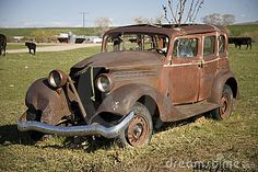 Photo about This is an old, rusty car -- long since retired and now serving as a planter in a cow field. Image of planter, auto, motors - 2789327 Abandoned Cars, Abandoned Vehicles, Rust Never Sleeps, Trucks Only, Rust In Peace, Rusty Cars, Photography Pricing, Old Classic Cars, Barn Finds