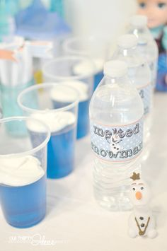 Olaf melted snowman water bottle labels #labels #waterbottlelabels | FROZEN movie release with a party and Free printables from @Our Thrifty Ideas