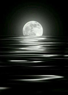 Black and white ocean moon