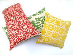 Moroccan Tile Slim Pillow in Red with Feather by HelenRawlinson, £25.00
