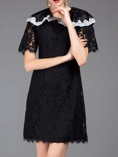 Black Crew Neck Lace Shift Dress