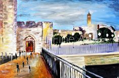 I was moved to paint this piece, since each time I passed through Sha'ar Yaffo, it was with excitement and anticipation. The feeling of walking into the Old City, hearing shoes click against the old historic stone, understanding that we are walking to the place that connects us all, and feeling spiritually recharged while walking back out. As I view this painting, I am once again brought back into those awesome moments. 24X36 Acrylic on Canvas. Jaffa Gate, oil painting. Jerusalem.