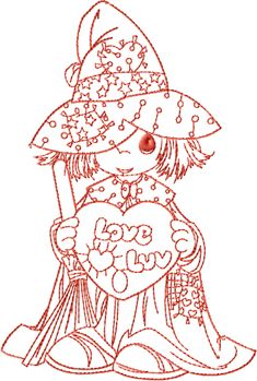Wizard Of Luv Free Embroidery Design    4x6   redwork