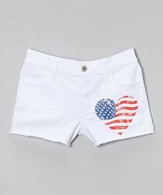 Another great find on #zulily! White American Flag Heart Shorts - Girls by So Nikki #zulilyfinds