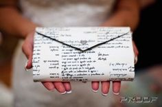 A personal love letter translated into French, Spanish & Italian and custom printed on the fabric used in this bride's clutch.