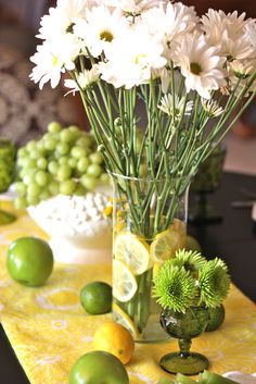 Yellow and Green #Table Scape with #milk glass, green American glass and table runner from #Goodwill.