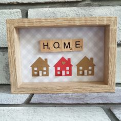New Home Scrabble Tile Art Picture, House Warming, Moving In Gift Scrabble Letter Crafts, Scrabble Tile Crafts, Wooden Scrabble Tiles, Scrabble Frame, Scrabble Art, Box Frame Art, Box Frames, Collage Frames, Frame Crafts